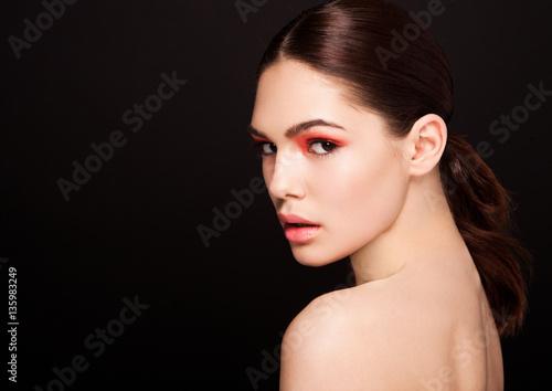 Foto op Plexiglas Beauty Beauty red eyes and lips makeup fashion model