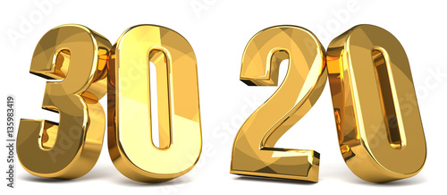 Fotografia  30 and 20 golden 3d render symbol