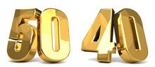 50 And 40 Golden 3d Render Sym...