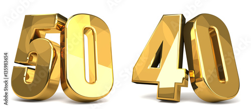 Fotografia  50 and 40 golden 3d render symbol