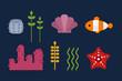 Sea animals marine life character vector illustration.
