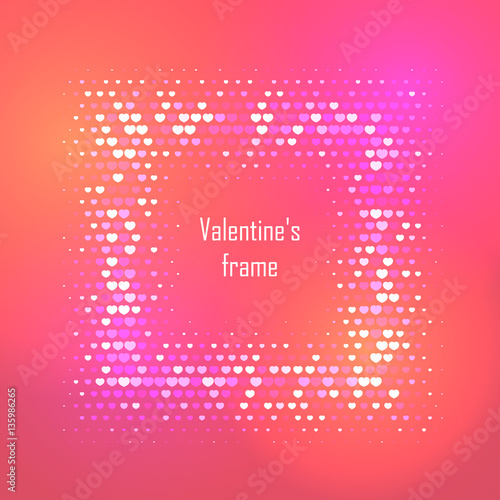 Card For Valentine Day With Abstract Colorful Halftone Background