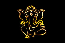 Hindu Ganesha Draw On Black  Background