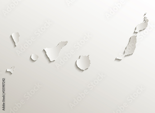 Canary Islands map card paper 3D natural vector Fototapeta