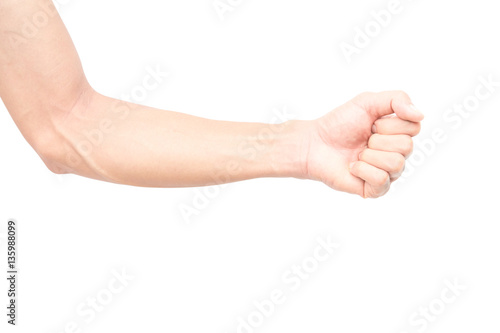 Papel de parede Man arm with blood veins on white background
