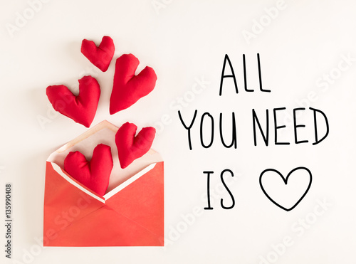 Photo  All You Need Is Love  message with red heart cushions