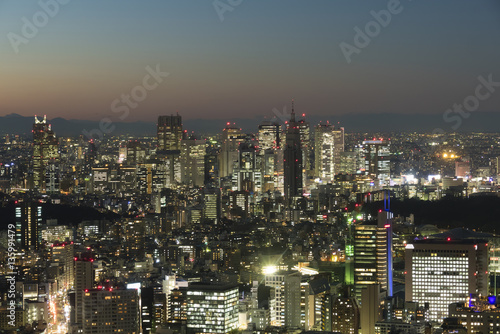 Poster Tokyo 東京都市風景 夕景 トワイライト 夜景 港区から望む 新宿 西新宿 青山 代々木 東京都庁