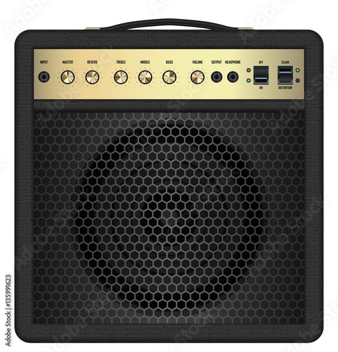 Foto real classic black guitar amplifier vector