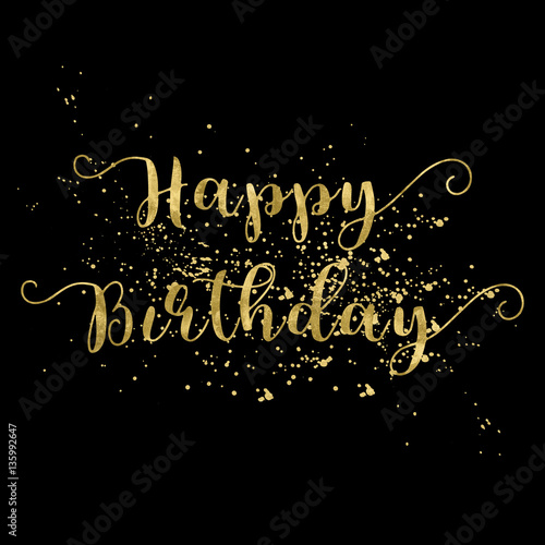 Happy Birthday Card Gold Words On Black Background Buy This Stock