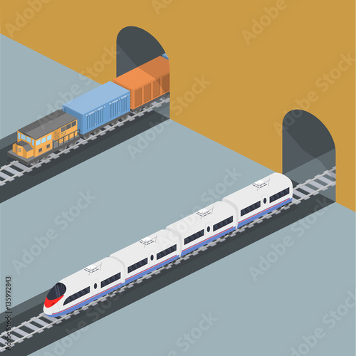 Isometric 3D vector illustration freight train and an express train