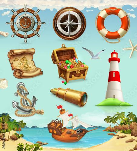 Fototapeta Marine set, summer vacation 3d vector icons