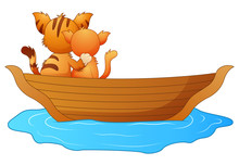 Cartoon Two Cats In A Boat