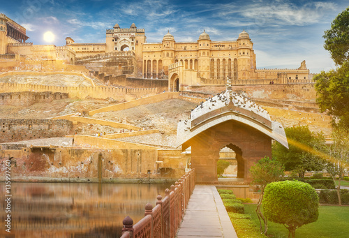 Photo Stands Fortification Amer Fort is located in Amer, Rajasthan, India.