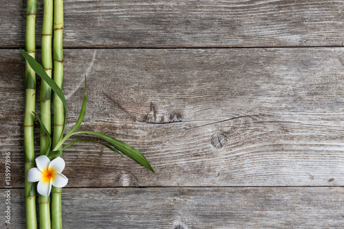 Poster Spa frangipani flower and bamboo on the wooden background