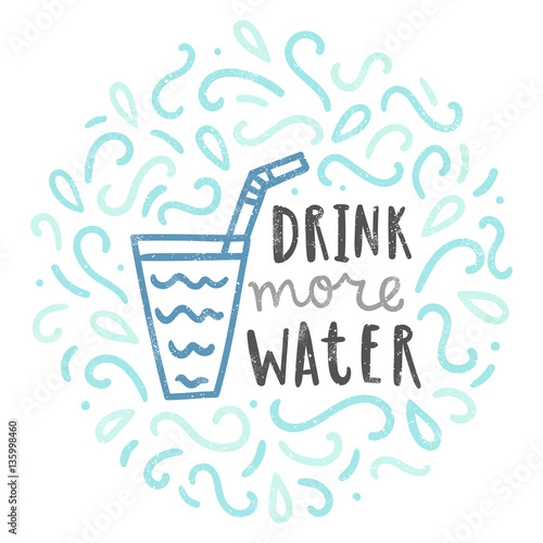 Drink more water. Doodle illustration. Vector hand drawn poster Tablou Canvas