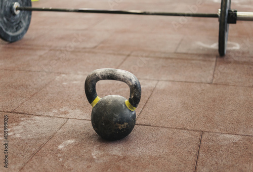 Sport kettlebell close up in the gym