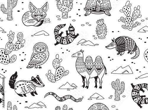 bezszwowy-wzor-z-pustynnymi-zwierzetami-w-monochromu-tyle