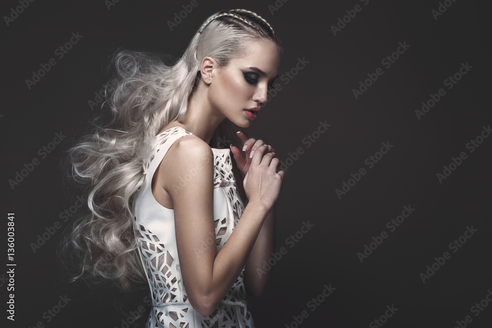 Fotografie, Obraz Beautiful girl in art dress with avant-garde ...