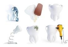 Teeth Set On A White Backgroun...
