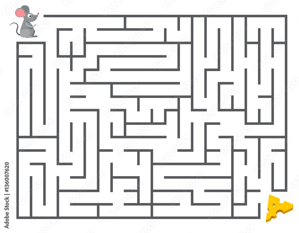 Fototapeta Cute mouse searching cheese. Kids maze puzzle, labyrinth vector illustration