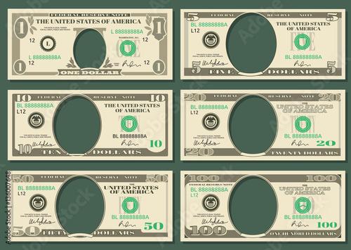 Fotografia, Obraz  Dollar currency notes vector money templates
