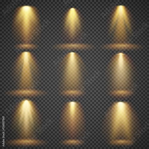 Fotografía  Sunlight glowing, yellow lights glow vector effects set