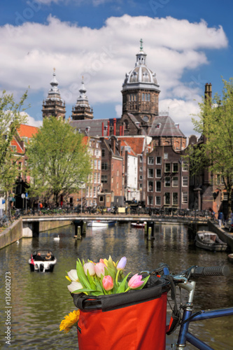 Famous Amsterdam with basket of colorful tulips against canal in Holland Canvas Print