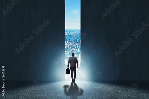 Businessman walking towards his ambition Wallpaper Mural
