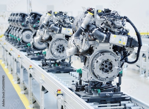 Fotografie, Obraz  New manufactured engines on assembly line in a factory.