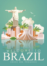 Vector Travel Poster Of Brazil With Colorful Modern Design, Brazilian Landscape And Monuments. Rio De Janeiro Advertising Card With Statue Of Jesus. Carnival Of Samba. Brazilian Football Symbols