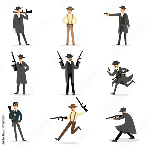 Fotografie, Obraz  American Mafia Mob Members Of 30s Set Of Cartoon Criminal Mobster Characters