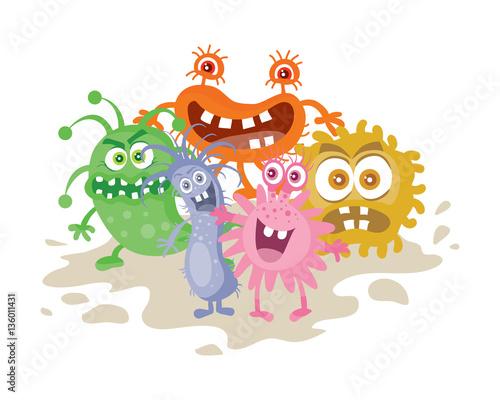 Fototapeta Set of Cartoon Monsters. Funny Smiling Germs. obraz na płótnie