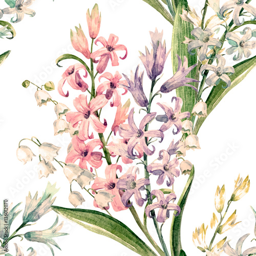Cotton fabric Watercolor vector hyacinth pattern