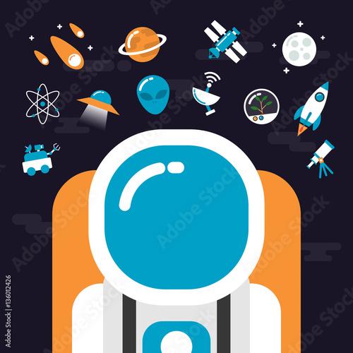 Fotografie, Obraz  astronomy with icons