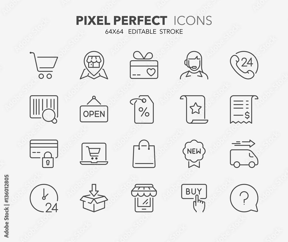 Fototapeta shopping thin line icons 1