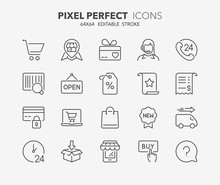Shopping Thin Line Icons 1