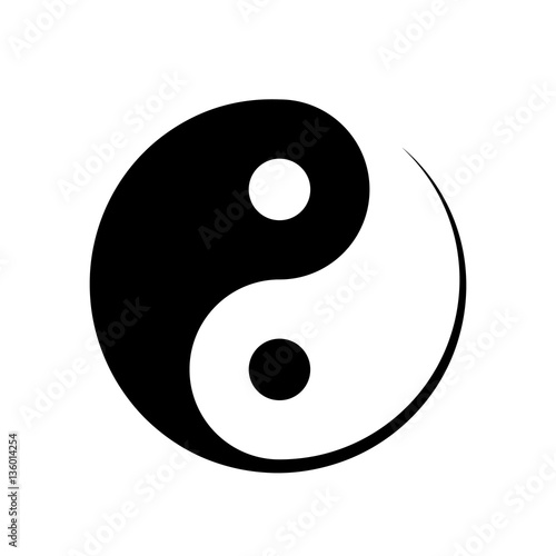 Black and white Yin Yang symbol Fototapet