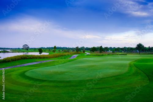 Deurstickers Groene Landscape beautisul green golf links and blue sky