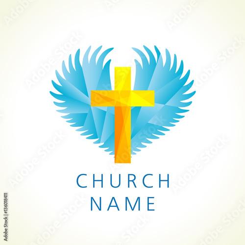 Cross Heart Angels Wings Religious Vector Christian Church Logo