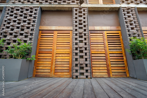 wood and brick facade designs