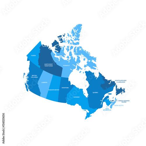 Canada Regions Map Canvas Print