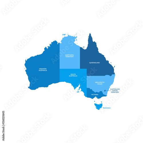 Obraz na plátně Australia Regions Map