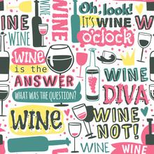 Bottles And Glasses Wine Seaml...