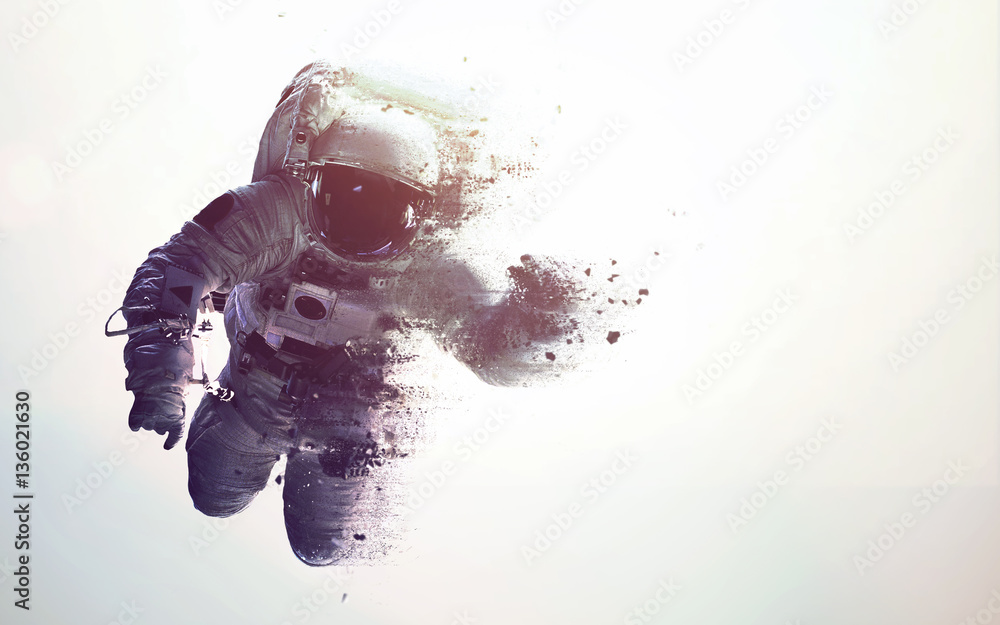 Fototapety, obrazy: Astronaut in outer space modern minimalistic art. Dualtone, anaglyph. Elements of this image furnished by NASA