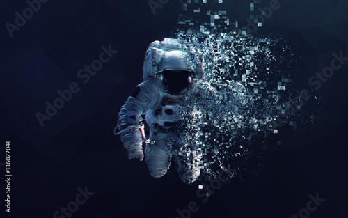 Fotografie, Tablou Astronaut in outer space modern minimalistic art