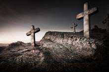 Concept Deuil Cimetière Avec Croix