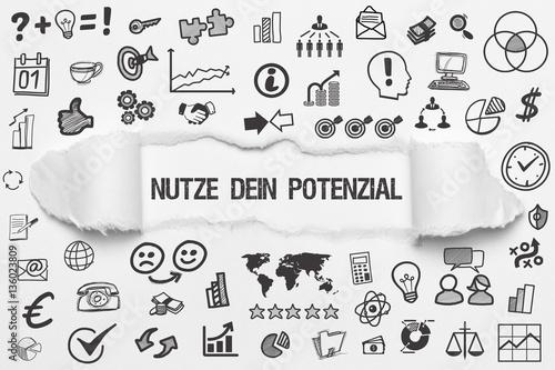 Fotografie, Obraz  Nutze Dein Potenzial / weißes Papier mit Symbole