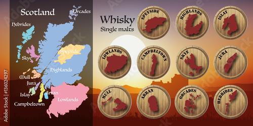 Obraz na plátně whisky - écosse - carte - coucher de soleil