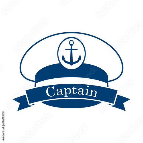 Fotografía  Icono plano Captain en gorra capitan azul en fondo blanco