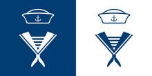 Icono Plano Uniforme Marinero Azul Y Blanco